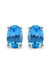 Braccatta - ASTA 8 Srebrne kolczyki z swiss blue topaz owal 2 ct.. Materiał: srebrne. Kolor: srebrny. Kamień szlachetny: topaz