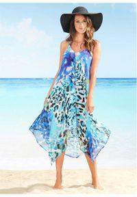Niebieska sukienka bonprix asymetryczna, z nadrukiem, z dekoltem w serek, na plażę