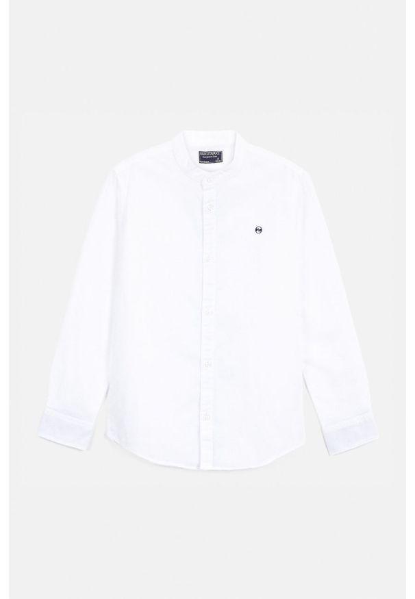 Biała koszula Mayoral ze stójką, na co dzień, casualowa, długa