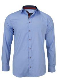 Niebieska elegancka koszula Rigon na spotkanie biznesowe, z klasycznym kołnierzykiem, z długim rękawem, długa
