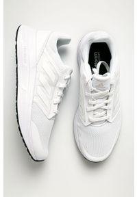 Białe buty sportowe Adidas z cholewką, na sznurówki, z okrągłym noskiem