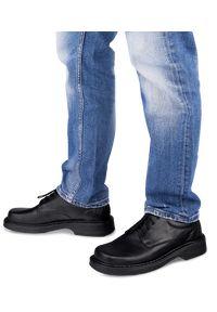 ESCOTT - Półbuty męskie Escott 835 Czarne. Zapięcie: sznurówki. Kolor: czarny. Materiał: tworzywo sztuczne, skóra. Obcas: na obcasie. Styl: elegancki. Wysokość obcasa: średni