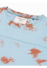 Ombre Clothing - T-shirt męski bawełniany S1372 - miętowy - XXL. Kolor: miętowy. Materiał: bawełna. Sezon: lato