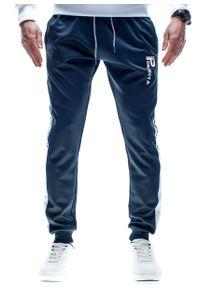 Niebieskie spodnie dresowe Recea w kolorowe wzory