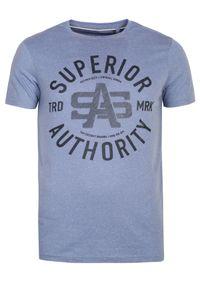 Niebieski t-shirt TOP SECRET krótki, na zimę