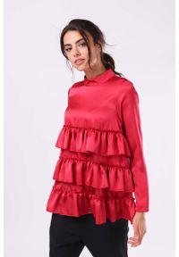 Różowa bluzka z długim rękawem Nommo z falbankami
