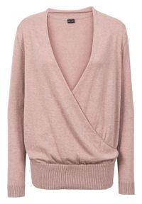 Różowy sweter bonprix z dekoltem w serek, retro