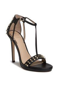 Czarne sandały Guess eleganckie, z aplikacjami