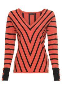Brązowy sweter bonprix w prążki, z dekoltem w serek