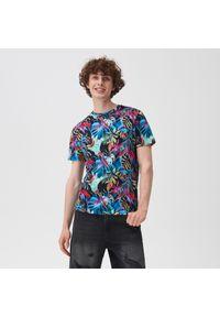 Sinsay - Wzorzysta koszulka - Szary. Kolor: szary
