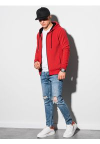 Ombre Clothing - Bluza męska rozpinana z kapturem B1157 - czerwona - XXL. Typ kołnierza: kaptur. Kolor: czerwony. Materiał: bawełna, poliester