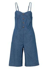 Kombinezon dżinsowy z guzikami bonprix niebiesko-biały w paski. Kolor: niebieski. Wzór: paski