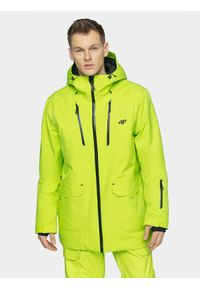 4f - Kurtka snowboardowa męska. Typ kołnierza: kaptur. Kolor: zielony. Materiał: materiał, mesh. Sezon: zima. Sport: snowboard