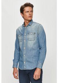 Niebieska koszula Pepe Jeans na co dzień, z klasycznym kołnierzykiem, długa, z długim rękawem