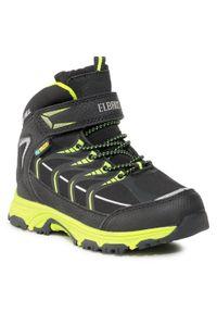 Czarne buty zimowe Elbrus na spacer, z cholewką