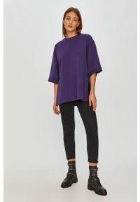 Fioletowa bluza Answear Lab wakacyjna, bez kaptura