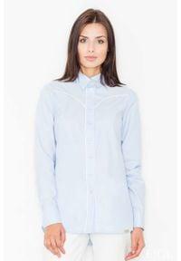 Figl - Błękitna Klasyczna Koszula z Lamówkami. Kolor: niebieski. Materiał: bawełna, poliester. Styl: klasyczny