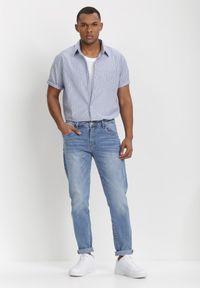 Born2be - Niebiesko-Brązowa Koszula Theisine. Okazja: na co dzień. Kolor: niebieski. Materiał: tkanina, materiał, jeans. Długość rękawa: krótki rękaw. Długość: krótkie. Wzór: paski. Styl: klasyczny, casual