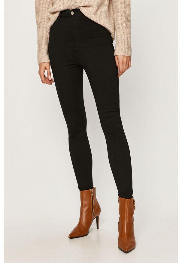 Czarne jeansy Dr. Denim z podwyższonym stanem, w kolorowe wzory