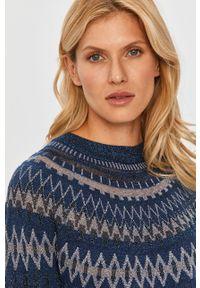 Niebieski sweter MAX&Co. raglanowy rękaw, z aplikacjami, na co dzień