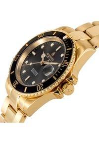 Zegarek Argonau Oryginalny złoty męski stalowy diver (AU2005). Kolor: szary, wielokolorowy, złoty