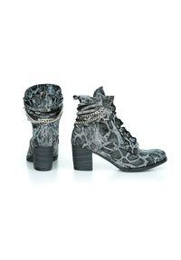 Czarne botki Zapato w kolorowe wzory, wąskie, na jesień