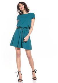 Tessita - Rozkloszowana Sukienka z Dekoltem V na Plecach - Szmaragdowa. Kolor: zielony. Materiał: poliester, elastan