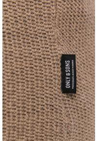 Only & Sons - Sweter. Okazja: na co dzień. Kolor: beżowy. Materiał: bawełna. Długość rękawa: długi rękaw. Długość: długie. Styl: casual