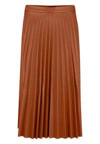 Spódnica plisowana ze sztucznej skóry bonprix kasztanowy. Kolor: brązowy. Materiał: skóra