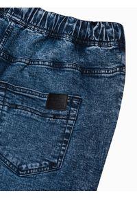 Ombre Clothing - Spodnie męskie jeansowe joggery P1027 - niebieskie - XXL. Kolor: niebieski. Materiał: jeans. Styl: klasyczny