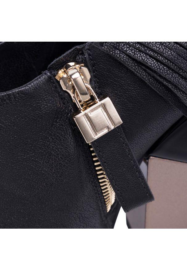 Czarne półbuty Loriblu z cholewką, z aplikacjami, eleganckie