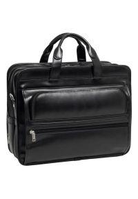 Torba na laptopa MCKLEIN Elston 17 cali Czarny. Kolor: czarny. Materiał: skóra. Styl: klasyczny