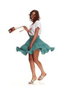 Turkusowa spódnica TOP SECRET krótka, na wiosnę, z aplikacjami