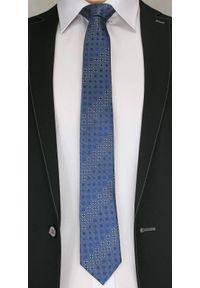 Stylowy Krawat Męski - Motyw Geometryczny - Chattier - 6,5 cm, Ciemny Niebieski. Kolor: wielokolorowy. Materiał: tkanina. Wzór: geometria. Styl: elegancki
