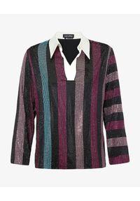 RETROFETE - Jedwabna koszula z kryształami Joie. Kolor: czerwony. Materiał: jedwab. Długość rękawa: długi rękaw. Długość: długie. Wzór: paski, aplikacja