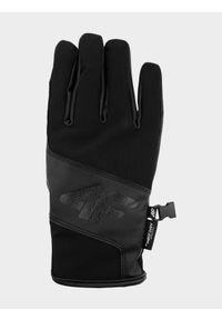 4f - Rękawice narciarskie męskie. Kolor: czarny. Materiał: skóra, materiał, syntetyk. Technologia: Thinsulate. Sezon: zima. Sport: narciarstwo