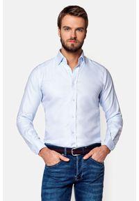 Lancerto - Koszula Błękitna Nakato. Kolor: biały. Materiał: bawełna, tkanina. Wzór: haft. Styl: klasyczny, elegancki