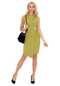 Zielona sukienka Merribel asymetryczna, bez rękawów