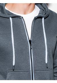 Ombre Clothing - Bluza męska rozpinana z kapturem B977 - szara - XXL. Typ kołnierza: kaptur. Kolor: szary. Materiał: poliester, bawełna. Styl: klasyczny #5