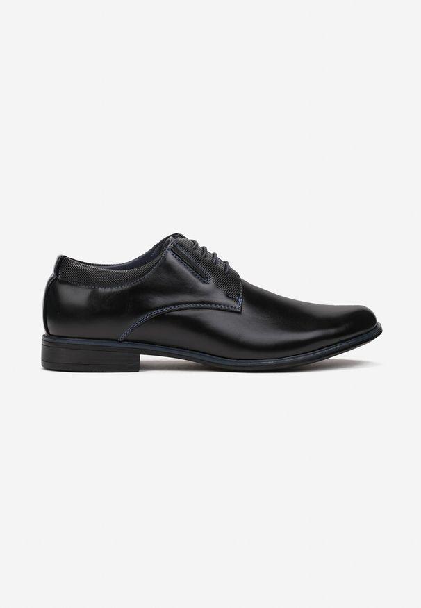 Born2be - Czarno-Niebieskie Półbuty Evitheme. Nosek buta: okrągły. Zapięcie: sznurówki. Kolor: czarny. Materiał: skóra, materiał. Szerokość cholewki: normalna. Obcas: na obcasie. Styl: klasyczny, elegancki. Wysokość obcasa: niski