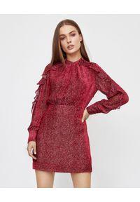 Czerwona sukienka mini Pinko z falbankami, z długim rękawem, w kropki