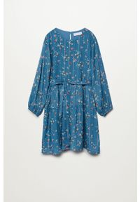 Niebieska sukienka Mango Kids rozkloszowana, z długim rękawem, midi