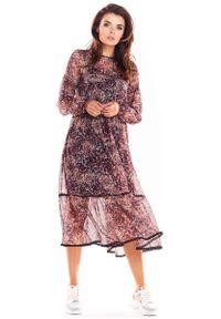 Awama - Zwiewna Wzorzysta Sukienka Szyfonowa - Wzór 2. Materiał: szyfon. Wzór: kwiaty