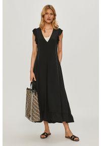 Beatrice B - Sukienka. Kolor: czarny. Materiał: tkanina. Długość rękawa: na ramiączkach. Wzór: gładki