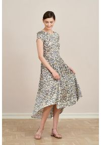 Marie Zélie - Sukienka Antea Manzanilla. Materiał: wiskoza, materiał. Długość rękawa: krótki rękaw. Typ sukienki: asymetryczne
