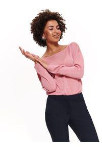 TOP SECRET - Sweter z bufiastymi rękawami. Kolor: różowy. Materiał: dzianina. Długość rękawa: długi rękaw. Długość: długie. Sezon: wiosna, lato. Styl: elegancki