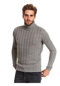 Szary sweter TOP SECRET z długim rękawem, długi, z golfem
