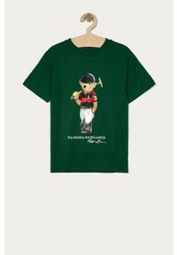 Zielony t-shirt Polo Ralph Lauren casualowy, polo, z nadrukiem