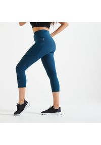 DOMYOS - Legginsy fitness damskie Domyos krótkie. Stan: podwyższony. Materiał: poliester, materiał, elastan. Długość: krótkie. Sport: fitness