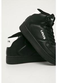 Czarne buty sportowe Levi's® na sznurówki, z okrągłym noskiem